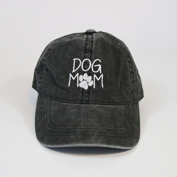 Dog Mom Black Baseball Cap by David Young