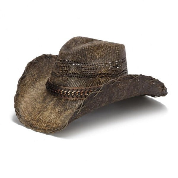 Men's Straw Cowboy Hat | Brown Chain | Stampede | Tea Stained