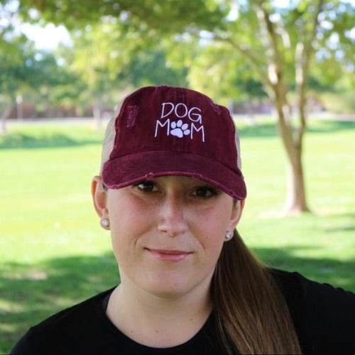 Dog Mom Mesh Ponytail Hat Burgundy - Willow Lane