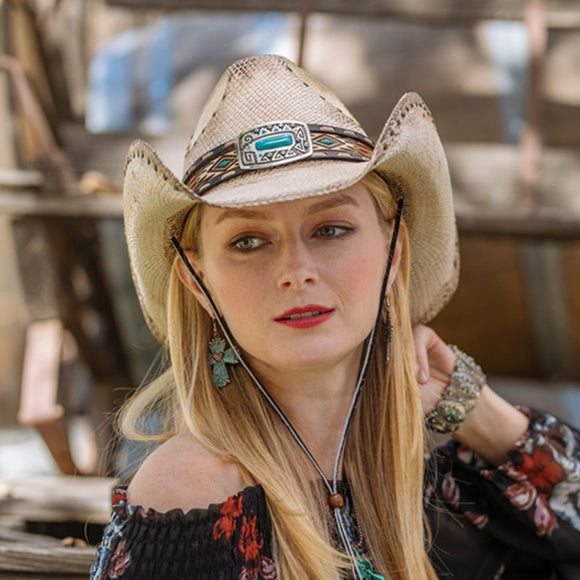 Woman wearing Stampede Genuine Panama Straw Western Hat - Bluestone and Chin Cord