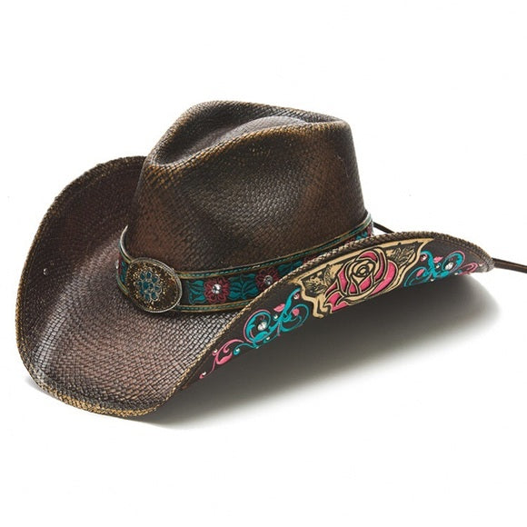 Women's Straw Cowboy Hat | Stampede | Pink Roses | Leather Band