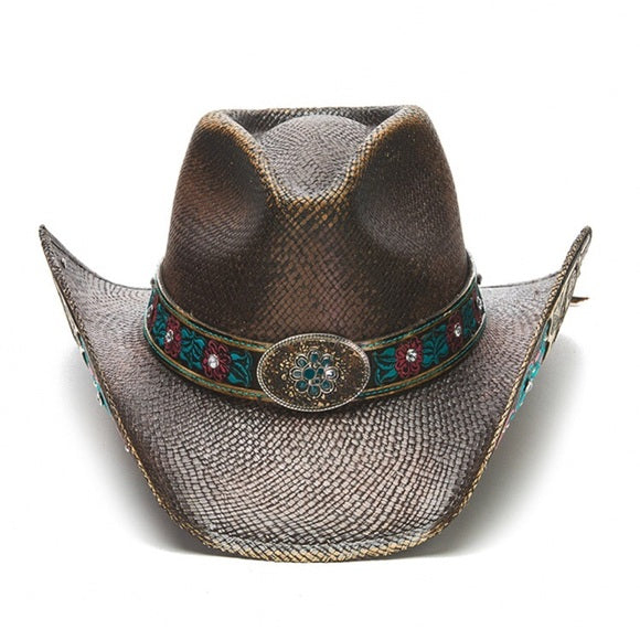Genuine Panama Straw STAMPEDE Hat With Rose Details Willow Lane