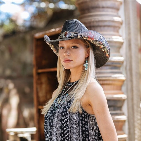 Women's Straw Cowboy Hat | Stampede | Hibiscus Flower | Black