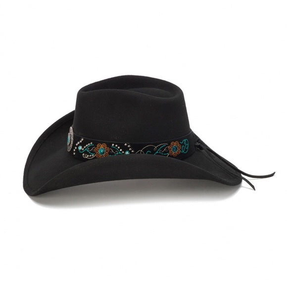 Stampede Black Felt Hat with Blue Stones