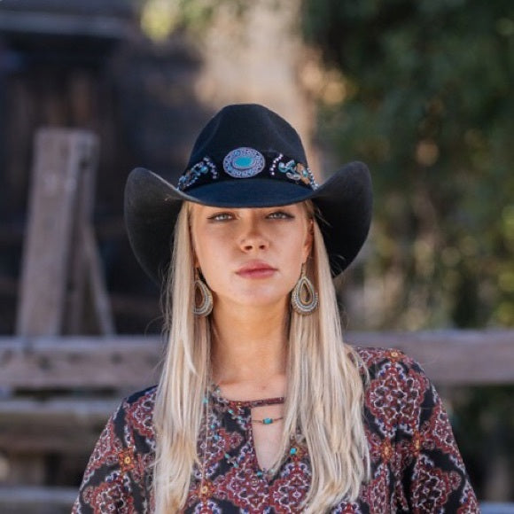 Women's Felt Cowboy Hat | Stampede | Turquoise Concho Band | Black