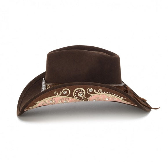 Stampede Felt Fashion Brown & Pink Western Hat