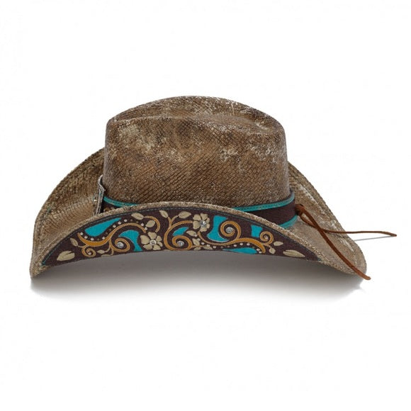 Stampede Blue Tea Stained Panama Western Hat
