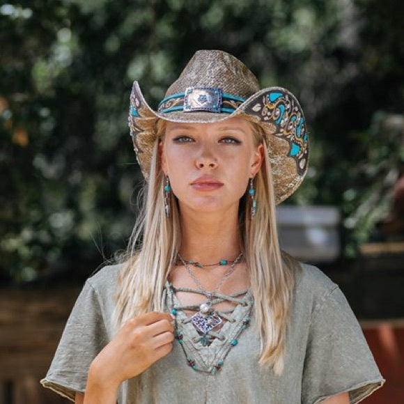 Women's Straw Cowboy Hat | Stampede | Floral Concho | Brown Tea Stain