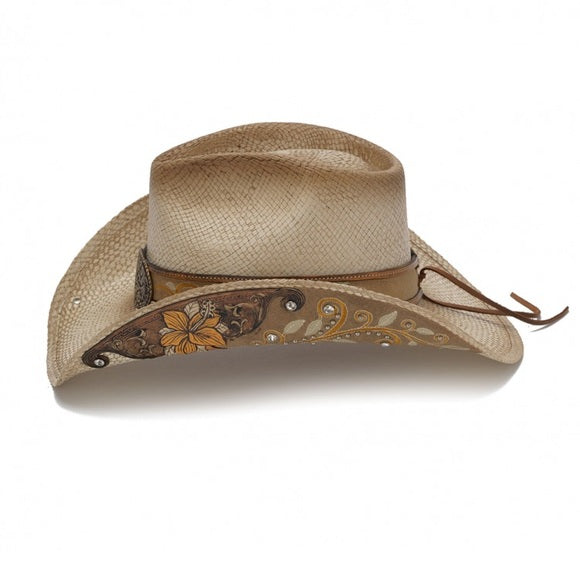 Women's Straw Cowboy Hat | Stampede | Rhinestones | Yellow Flowers