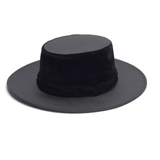 Boater Hat Leather  | ASN | Velveteen Band | Black