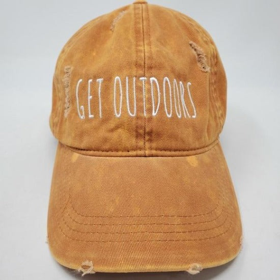 GET OUTDOORS - Burnt Orange Distressed Denim Baseball Cap Unisex