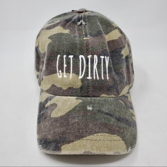 David and Young Camouflage Distressed Baseball Cap - GET DIRTY