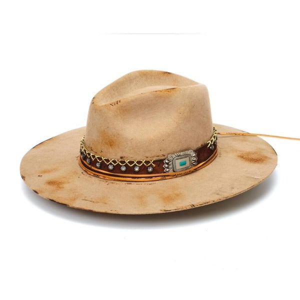 Felt Distressed Rancher Hat | Stampede | Beige | Fox Tail