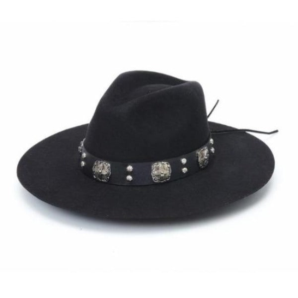 black rancher hat with black leather band and silver cross conchos