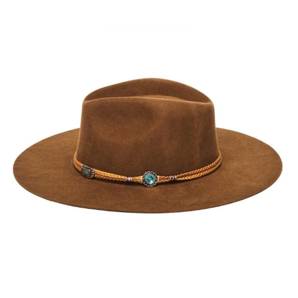 Brown flat brim rancher hat with braided leather band with silver and turquoise concho accents