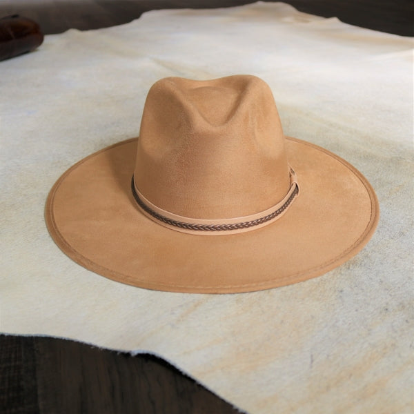 Tan Rancher Fedora Hat - The Savana in Suede