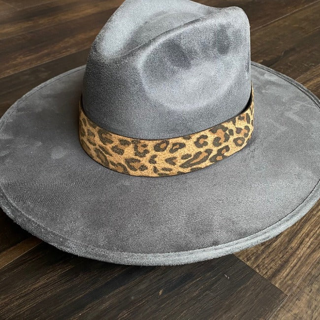 Double J Saddlery Suede Leopard Print Hat Band