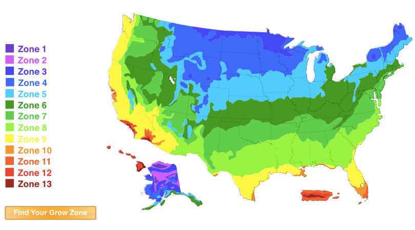 NEW USDA Plant Hardiness Grow Zone Map Lookup Tool - Map of growing zones in the us