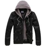 Men's Leather Jacket with Hooded Hat