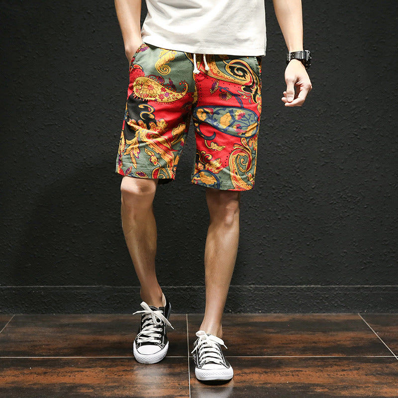 Plus Size Men Drawstring Printed Streetwear Mens Shorts Summer