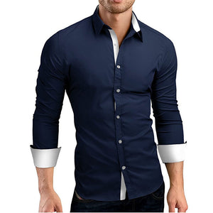 Casual Men's Long Sleeve Slim Shirt Large Size 4XL - freakichic