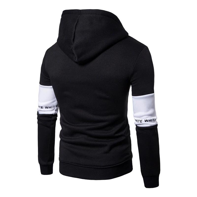 Casual Hoodies Men Fashion New Patchwork Hooded Sweatshirt - freakichic
