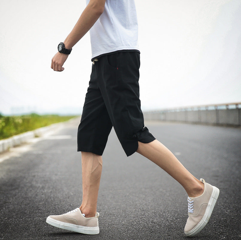Men's solid color buckle loose beach pants