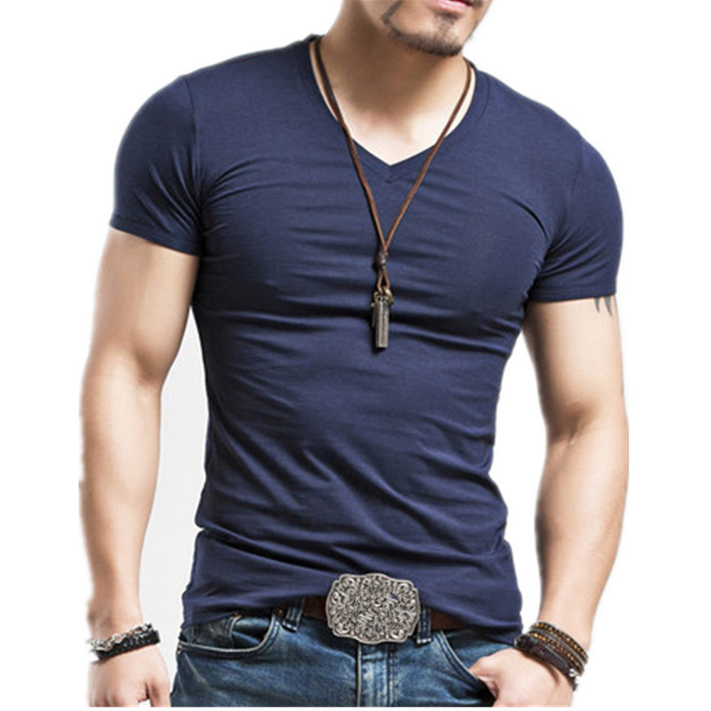 Fashion V neck Men's Tshirts Fitness Casual For Male T-shirt S-5XL - freakichic
