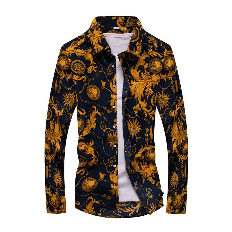Plus Sizes Fashion Floral Print Slim Fit Shirts