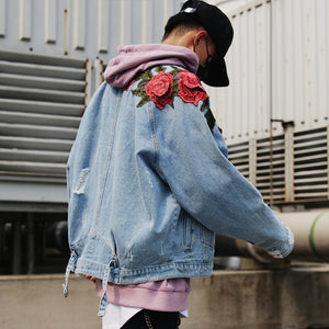 Three-dimensional embroidery red flower tide brand denim jacket