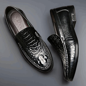 2019 new men's casual shoes fashion leather men's shoes crocodile pattern peas shoes - freakichic