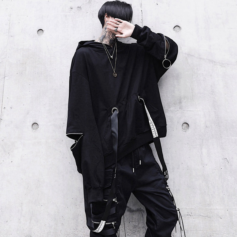 2019 new male dark loose hooded sweater - freakichic