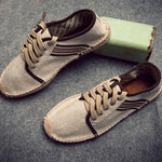 Men Stripe Flax Casual Shoes - freakichic