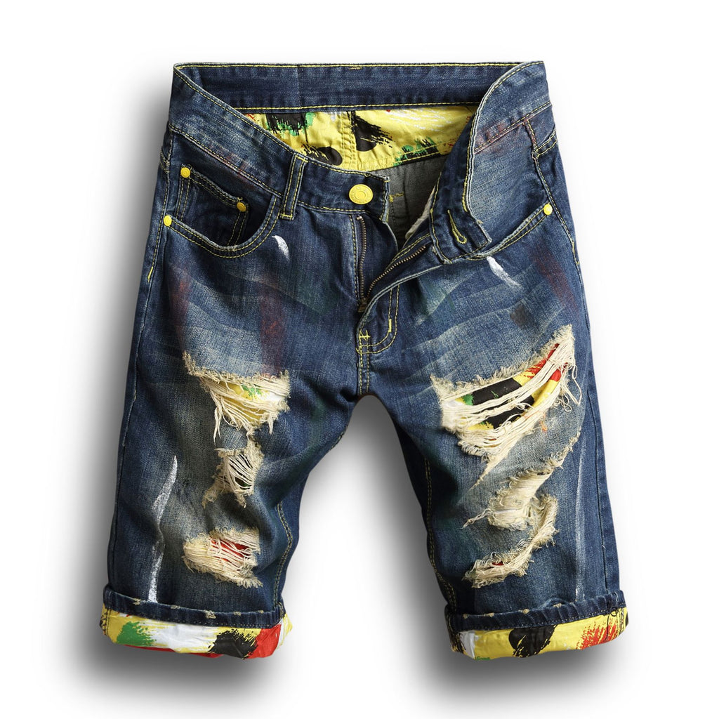 Summer men's hole denim shorts