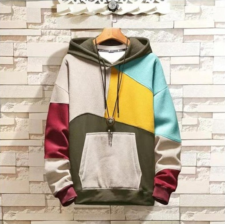 Men's stitching padded hooded contrast sweater