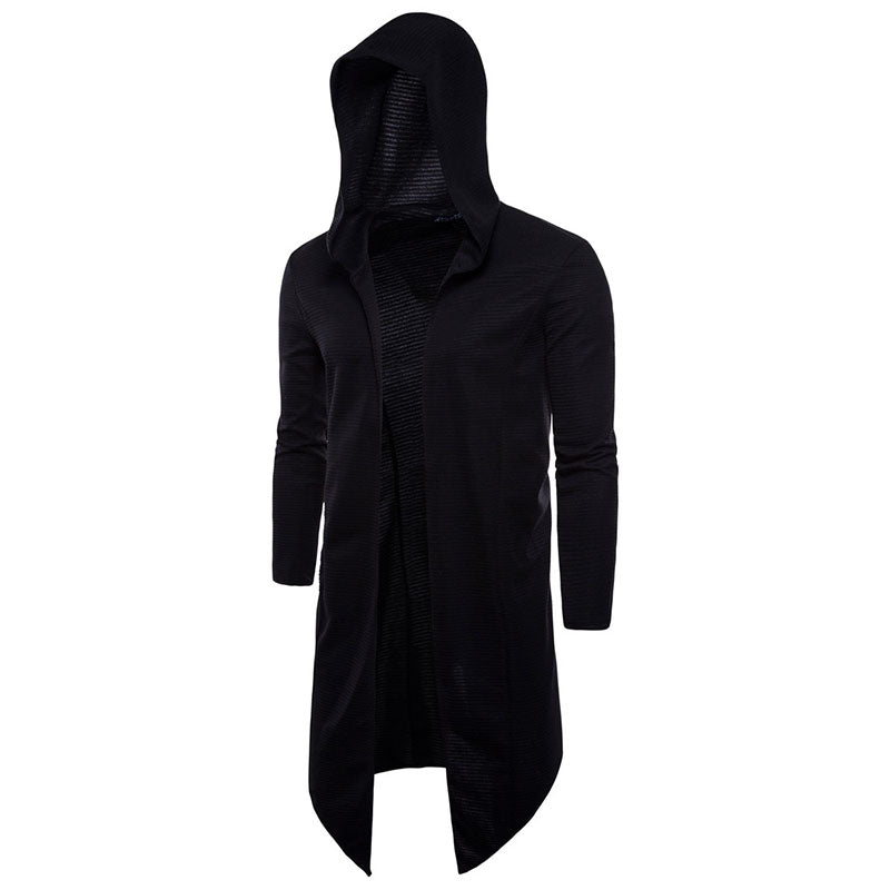 Large size T-shirt with long buttonless windbreaker hooded cloak - freakichic