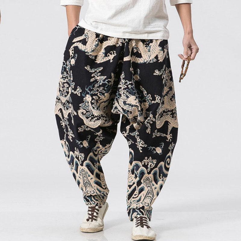 Dragon 3d Print Wide Leg Linen Casual Pants Male Knickerbockers Harem Joggers Chinese Style Trousers - freakichic