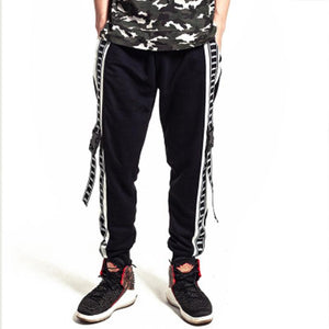 Tide brand large size stitching casual trousers