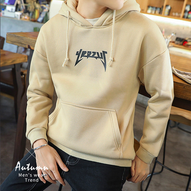 Round neck printed letter head casual hooded sweater