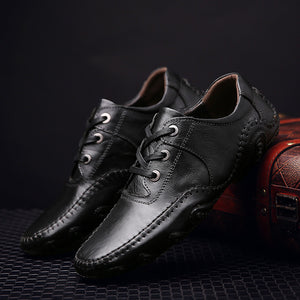 Men's fashion leather casual shoes plus cotton plus velvet shoes - freakichic