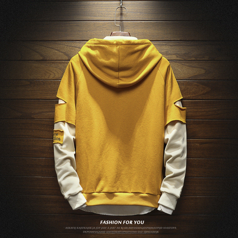 Loose round neck stitching hoodie couple sweater - freakichic