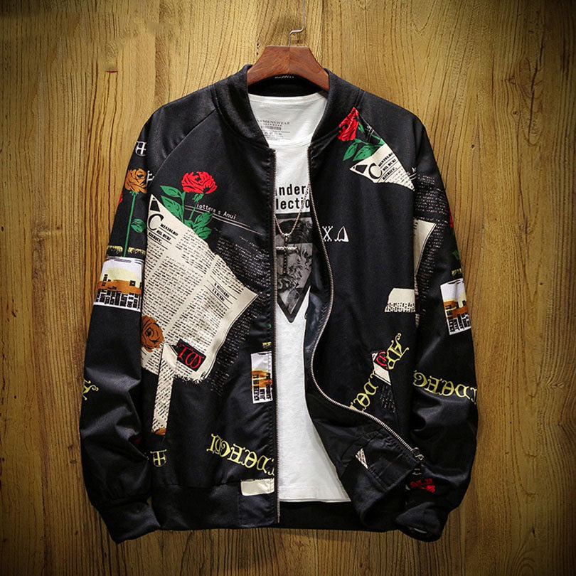 New product personality printed jacket loose casual collar men's jacket