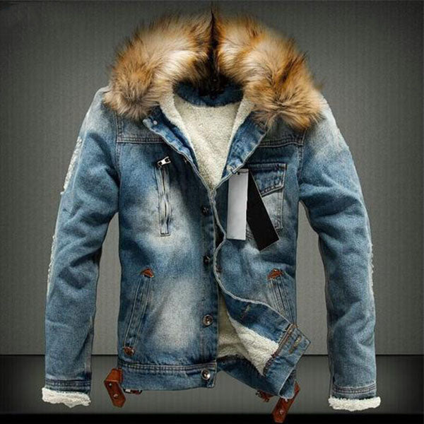 New Winter Warm Thick Jeans Denim Men's Outerwear Jacket