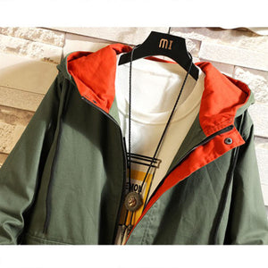 Large size drawstring colorblock jacket - freakichic