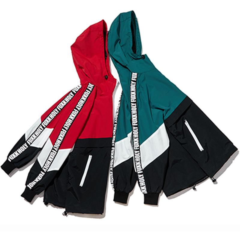Patchwork Color Hooded Zipper Jacket Wool Coat Fashion Coats Hip Hop Streetwear