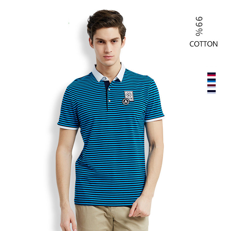 2019 new mercerized cotton polo shirt male striped embroidery t-shirt - freakichic
