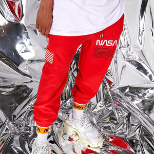 Kanye with the flag of the crane pants men plus velvet astronauts sports trousers - freakichic
