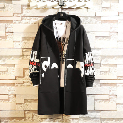 2019 spring and autumn trend men's windbreaker long casual hooded jacket - freakichic