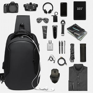 Multifunction Crossbody Bags Men USB Charging Chest Pack Short Trip Messengers Chest Bag