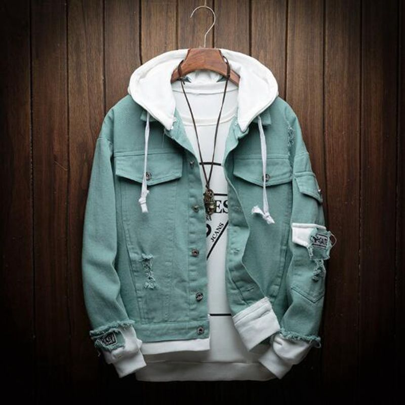 New Hooded Denim Jacket Men Fashion Fake Two Pieces Of Streetwear Bomber Jacket